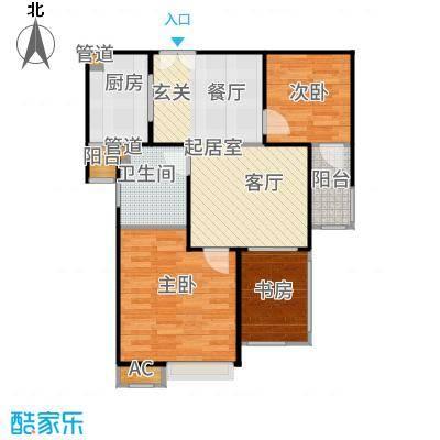 万业紫辰苑71.00㎡三居户型3室2厅