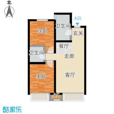 金地艺境88.00㎡高层22号、32号楼F'户型