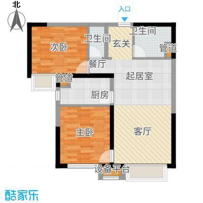 中海国际社区88.00㎡高层A10、A13、A15号楼标准层E户型