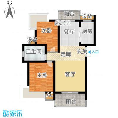 孔目江1号92.41㎡C阳光庭墅户型