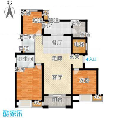 中海凤凰熙岸126.00㎡6号楼标准层C4户型