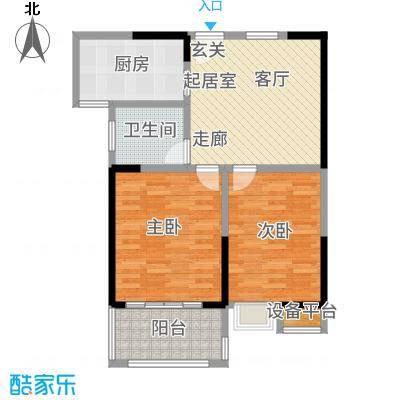 观湖壹号72.00㎡一期12号楼标准层平面图户型