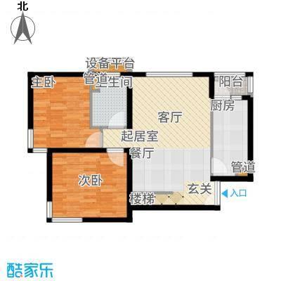 北京奥林匹克花园ⅢB1边2-SY下层户型2室2厅