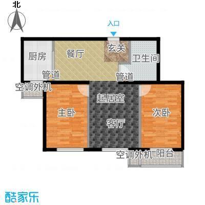 强佑·清河新城87.46㎡4号楼四单元D1两室户型2室2厅