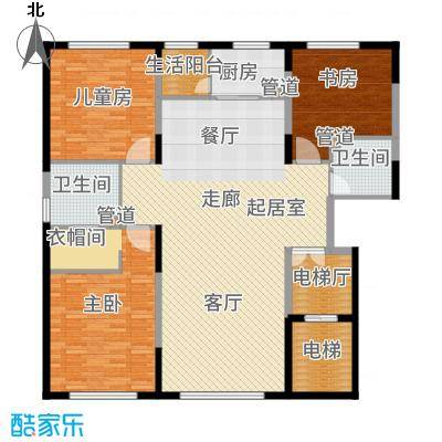 水木兰亭三期155.00㎡户型3室2厅