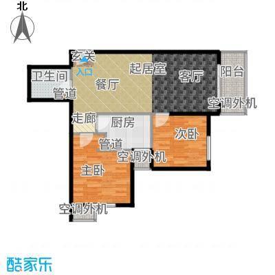 强佑·清河新城86.75㎡4号楼四单元D5两室户型2室2厅