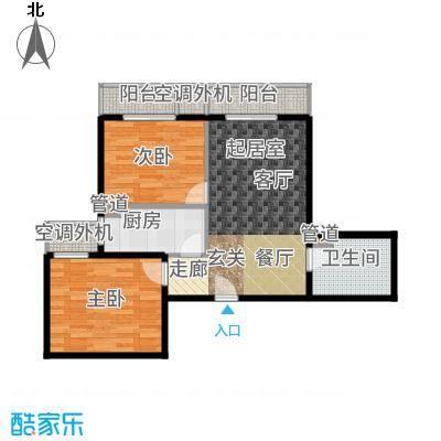 强佑·清河新城86.75㎡4号楼四单元D2两室户型2室2厅