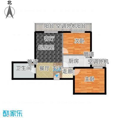 强佑·清河新城87.35㎡4号楼三单元C5两室户型2室2厅