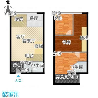 UP生活64.24㎡KT-户型2室3厅