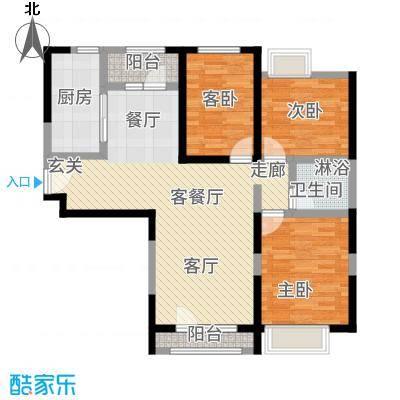 华业东方玫瑰90.00㎡A9号楼1-05户型3室2厅