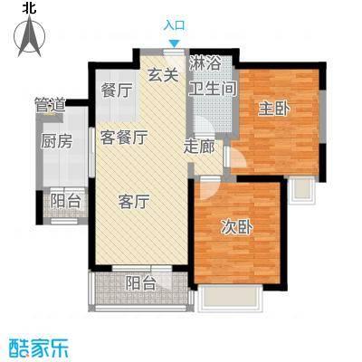 华业东方玫瑰90.00㎡A9号楼1-04户型2室1厅