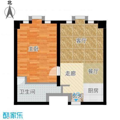 新年华SOHO66.74㎡优盘(中基大厦)C户型1室1厅