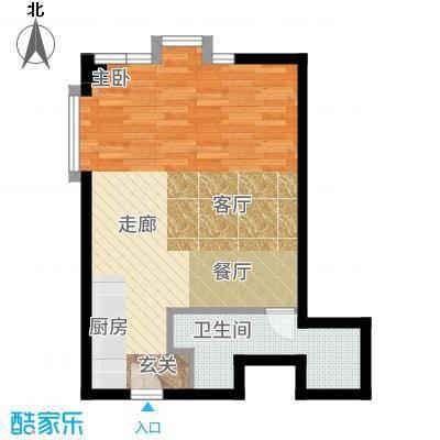 新年华SOHO46.07㎡优盘(中基大厦)B1大一居室户型1室