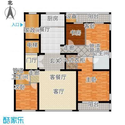 五矿万科·如园220.00㎡A顶层户型5室2厅