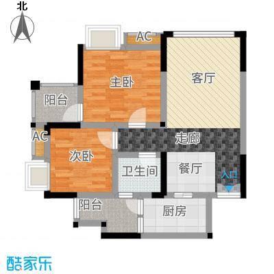 风花树81.38㎡二期14、15号楼高层1号房户型2室2厅
