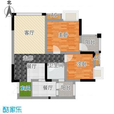 风花树83.58㎡二期14、15号楼高层2号房户型2室2厅