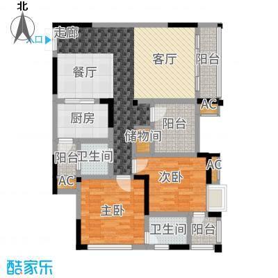 风花树104.69㎡二期14、15号楼高层4号房户型2室2厅