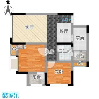 风花树79.14㎡二期14、15号楼高层7号房户型2室2厅