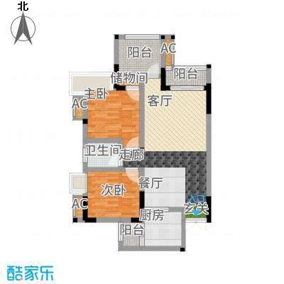 风花树88.76㎡6号楼1、2号房户型2室2厅