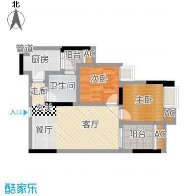 渝开发上城时代B4户型2室1厅