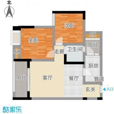 渝开发上城时代A3户型2室1厅