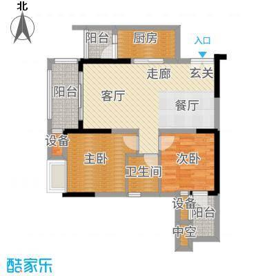 财信沙滨城市一期A10/A11号楼3号房户型2室2厅