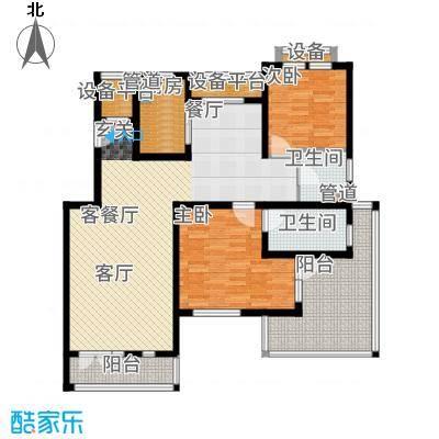 浦江颐城晶寓123.00㎡退台洋房E户型3室2厅