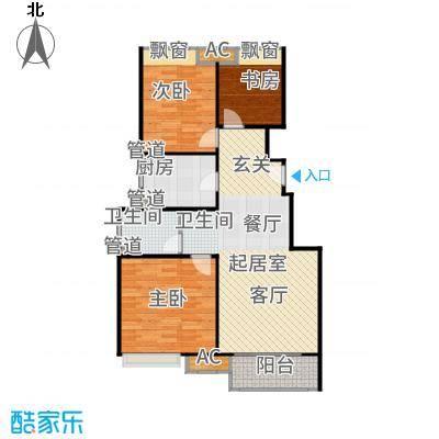 上坤乐城90.00㎡三居户型3室2厅