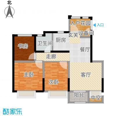 南山雨果90.00㎡两居户型2室2厅