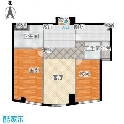 艾格美国际公寓123.00㎡M户型2室1厅