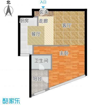 艾格美国际公寓67.00㎡A户型1室1厅