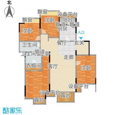 万科时一区147.00㎡3楼中间套户型4室2厅