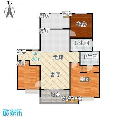 万科时一区107.00㎡107三居户型3室2厅