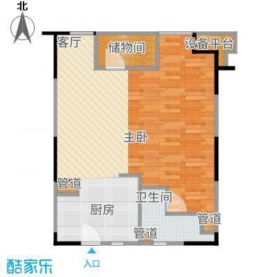 万科时一区55.00㎡二居户型2室1厅