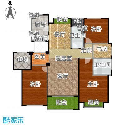 绿城玉兰公馆145.00㎡4居户型4室2厅