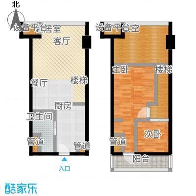 绿地峰尚汇45.00㎡LOFT两居户型2室2厅