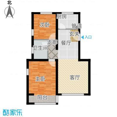 金海依云小镇85.00㎡二期洋房A(边两居)户型2室2厅