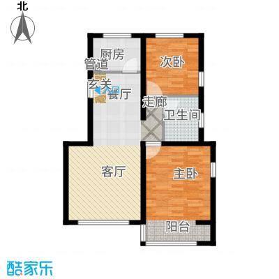 金海依云小镇85.00㎡二期洋房D(边两居)户型2室2厅