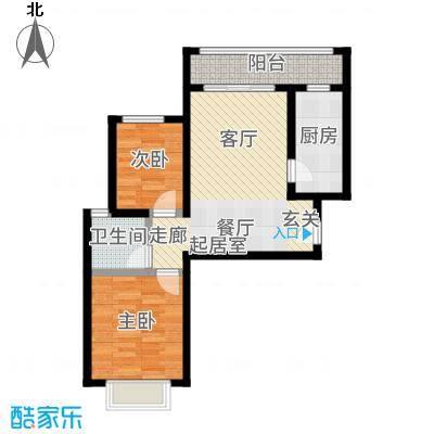 恒大御景湾90.00㎡2、5、10、11、12、13、15号楼A3边户户型2室2厅
