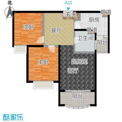 中盛星·河湾85.00㎡B户型2室2厅