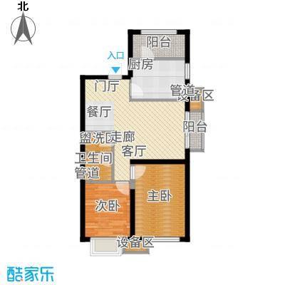 东洲家园90.00㎡4、6号楼中间户D户型2室2厅