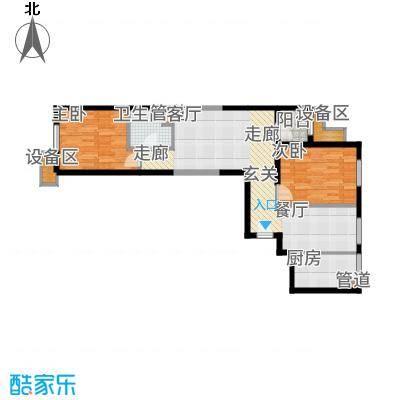 东洲家园90.00㎡4、6号楼中间户E户型2室2厅