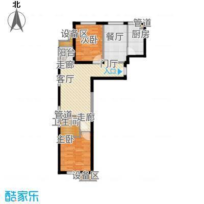 东洲家园90.00㎡1-6号楼边户A户型2室2厅