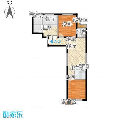 东洲家园90.00㎡4、6号楼中间户F户型2室2厅