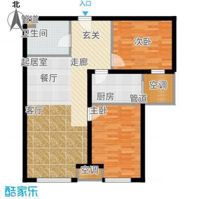 锦绣园87.00㎡H-2b户型2室2厅