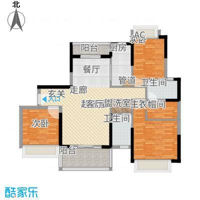 招商金山谷129.00㎡·尚层15栋02单元和16栋01单元户型3室2厅