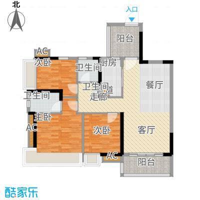 路劲隽悦豪庭102.98㎡路劲悦峰68栋02单位户型3室2厅