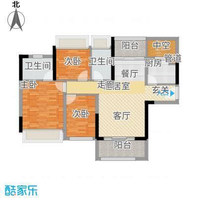 星誉花园93.79㎡3栋二至十八层01单位户型2室2厅