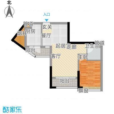 祥辉苑星座58.00㎡02户型1室2厅