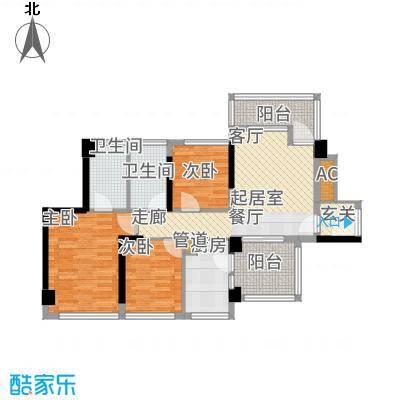 潜龙曼海宁88.85㎡82阳台户型3室1厅